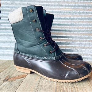 Rampage Women's Brown & Green Duck Boots Size 10